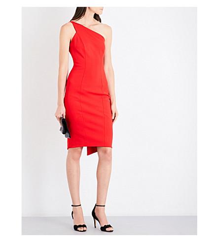 KAREN MILLEN One-shoulder crepe dress (Red