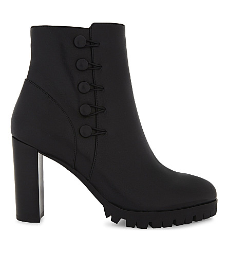 KAREN MILLEN Leather heeled ankle boots (Black