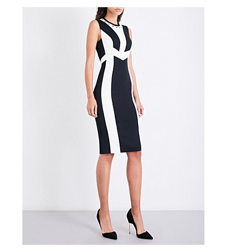 KAREN MILLEN Two-tone tailored-fit woven dress (Monochrome