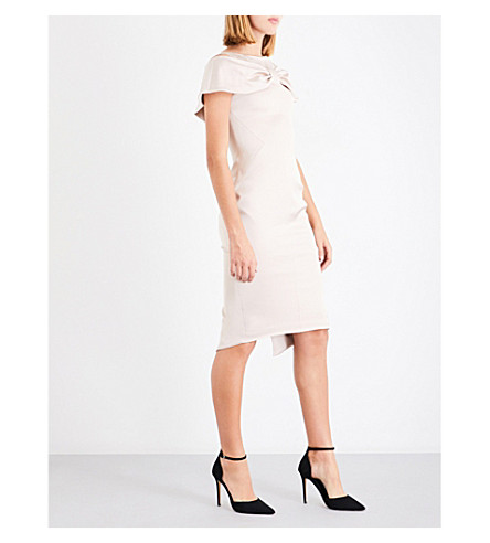 KAREN MILLEN Bow-front satin dress (Cream