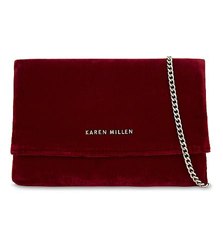 KAREN MILLEN Brompton velvet clutch (Red