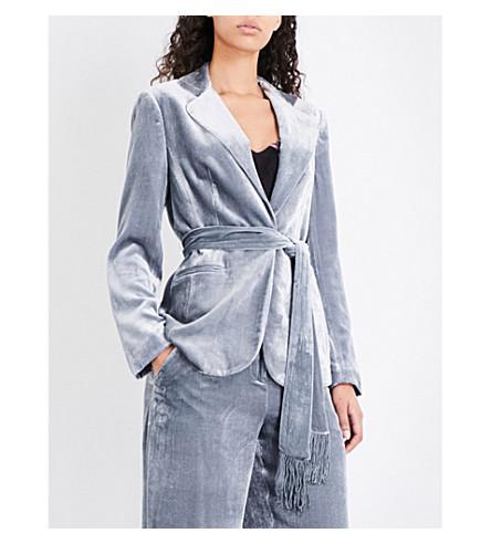 KAREN MILLEN Belted velvet jacket (Grey