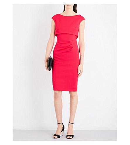 KAREN MILLEN Front-overlay crepe dress (Pink