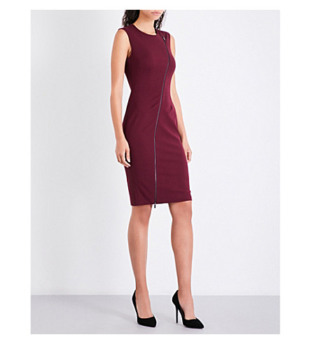 KAREN MILLEN Zip-detail woven dress (Purple