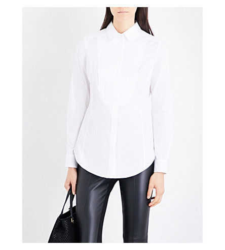 KAREN MILLEN Tailored-fit stretch-cotton shirt (White
