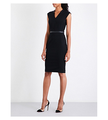 KAREN MILLEN Faux-leather-trim wool-blend dress (Black