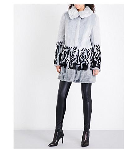 KAREN MILLEN Leopard-print faux-fur coat (Grey