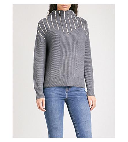 KAREN MILLEN Stud-embellished ribbed knitted turtleneck jumper (Grey
