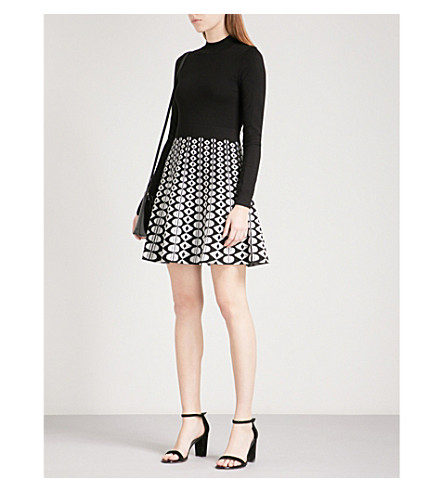 KAREN MILLEN Geometric jacquard-knit mini dress (Monochrome