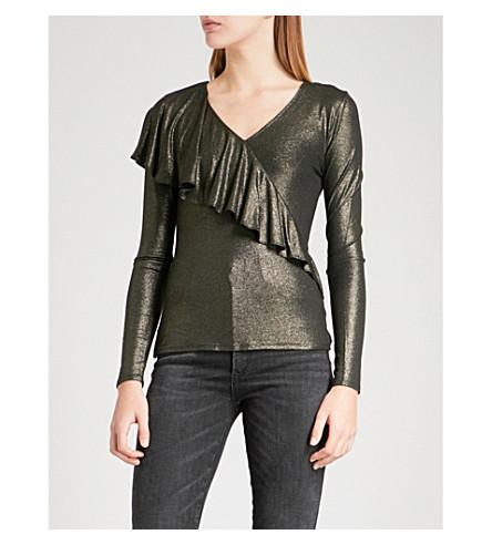 KAREN MILLEN Asymmetric frill metallic stretch-jersey top (Gold