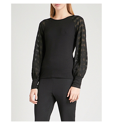 KAREN MILLEN Balloon-sleeve stretch-jersey top (Black