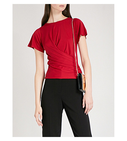 KAREN MILLEN Wrap crossover jersey top (Red