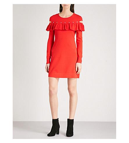 KAREN MILLEN Frilled-trim knitted dress (Red