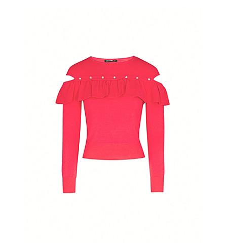 KAREN MILLEN Cold-shoulder ruffled knitted jumper (Pink