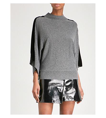 KAREN MILLEN Velvet-trimmed oversized knitted jumper (Grey