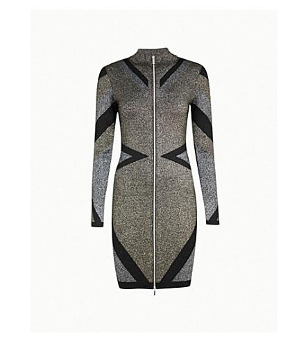 KAREN MILLEN Metallic-knit fitted dress (Gold