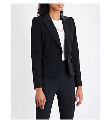 KAREN MILLEN Faux-leather trim wool-blend jacket (Black