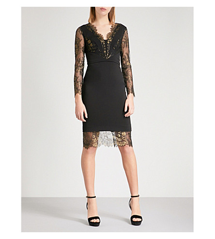 KAREN MILLEN Metallic floral-lace crepe and lace dress (Multi-coloured