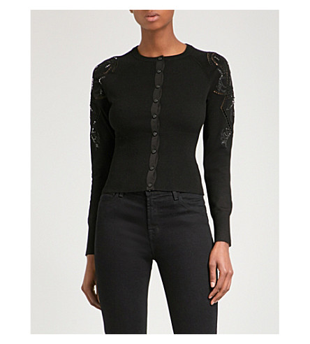 KAREN MILLEN Embroidered knitted cardigan (Black