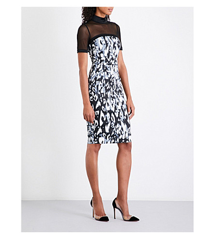 KAREN MILLEN Blurred leopard-print satin dress (Multi-coloured