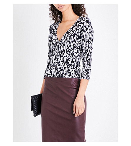 KAREN MILLEN Leopard-print knitted cardigan (Multi-coloured