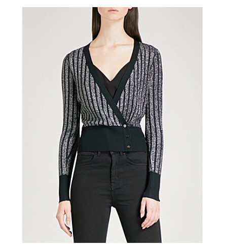 KAREN MILLEN Striped metallic-knit cardigan (Grey