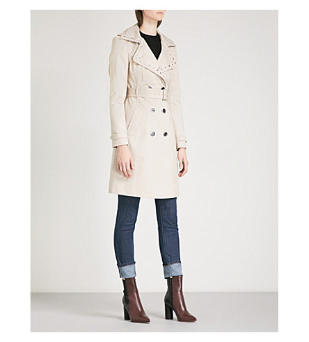 KAREN MILLEN Stud-embellished stretch-cotton trench coat (Cream