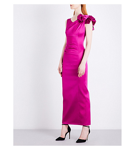 KAREN MILLEN Ruched satin dress (Bright+pink/fuschia