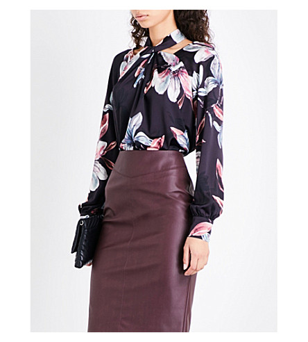 KAREN MILLEN Floral-print satin blouse (Multi-coloured