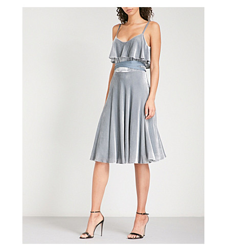KAREN MILLEN Ruffled velvet dress (Grey