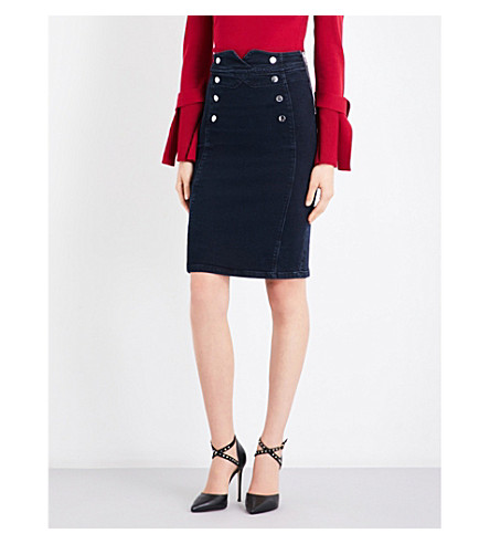 KAREN MILLEN Corset high-waist stretch-denim skirt (Navy