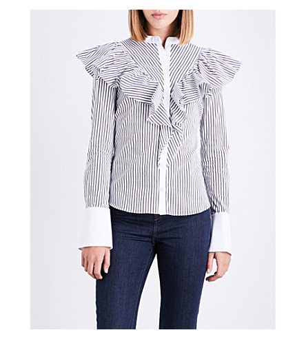 KAREN MILLEN Ruffled stretch-cotton shirt (Monochrome