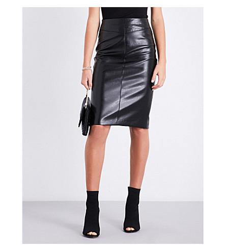 KAREN MILLEN Embossed high-rise faux-leather skirt (Black