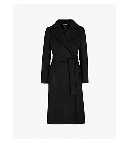 KAREN MILLEN Belted wool-blend coat (Black