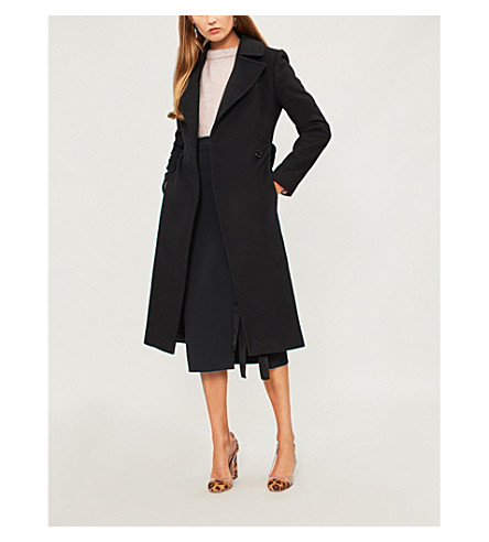KAREN MILLEN Belted wool-blend coat (Black