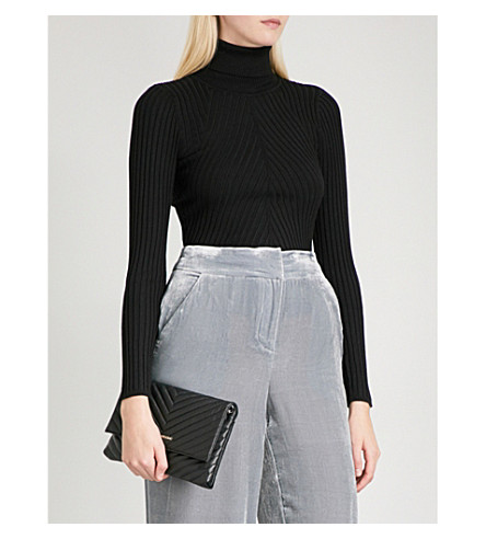 KAREN MILLEN Ribbed-knit turtleneck jumper (Black