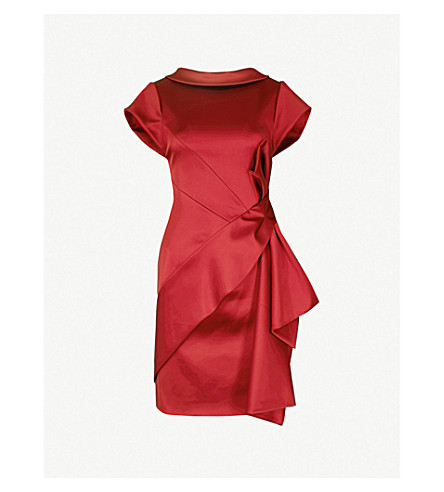 KAREN MILLEN Bow-detail satin dress (Plum/claret