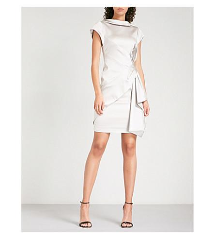 KAREN MILLEN Bow-detail satin dress (Silver