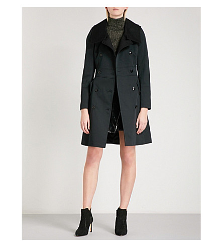 KAREN MILLEN Contrast-collar stretch-cotton trench coat (Black