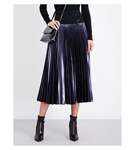 KAREN MILLEN Pleated metallic skirt (Grey