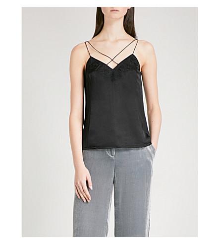 KAREN MILLEN Floral-lace and silk-satin camisole (Black