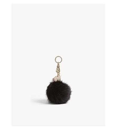 KAREN MILLEN Faux-fur pom pom keyring (Black