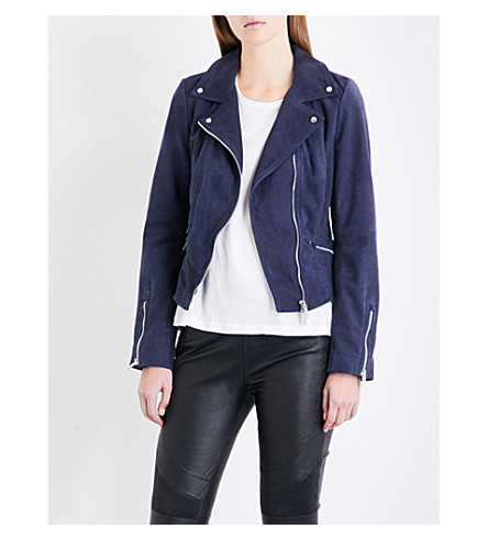 KAREN MILLEN Limited edition suede biker jacket (Navy