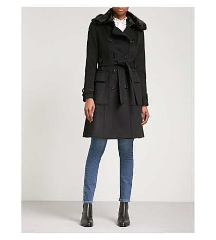 KAREN MILLEN Faux-fur trimmed double-breasted wool-blend coat (Black
