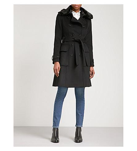 KAREN MILLEN Faux-fur trimmed double-breasted wool-blend coat (Black