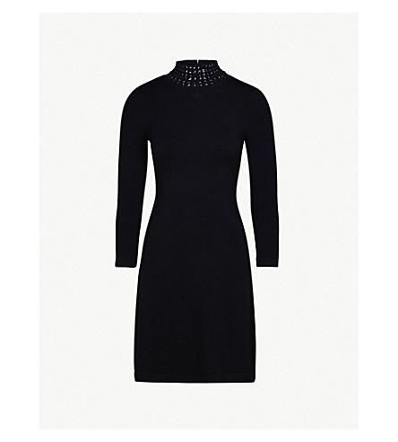 KAREN MILLEN Stud-embellished knitted turtleneck mini dress (Black