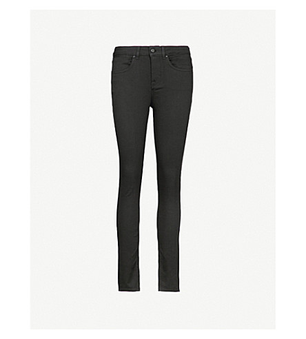 KAREN MILLEN Tuxedo skinny cropped high-rise jeans (Black