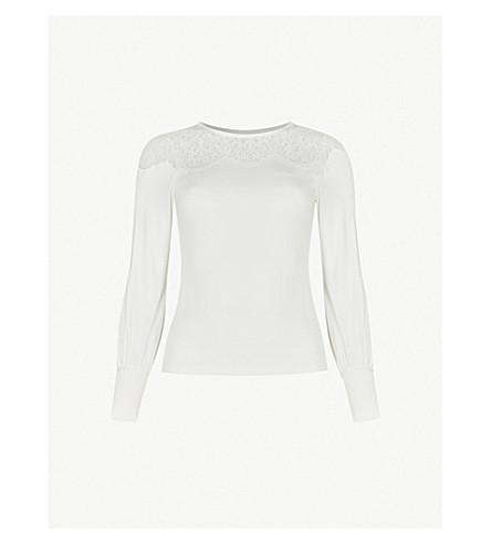 KAREN MILLEN Lace yoke stretch-jersey top (Cream