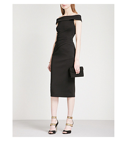 KAREN MILLEN Off-the-shoulder woven dress (Black