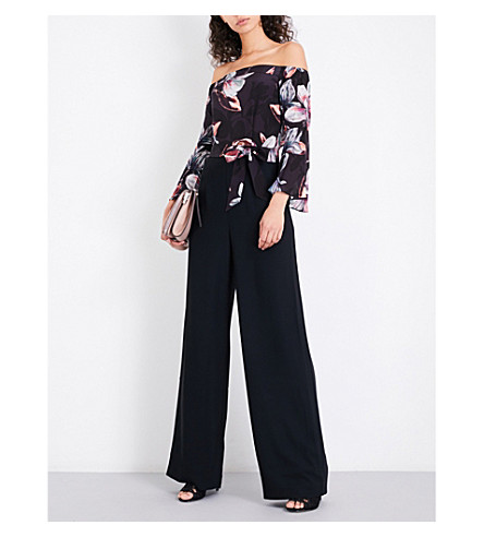 KAREN MILLEN Floral-print off-the-shoulder silk and crepe jumpsuit (Multi-coloured